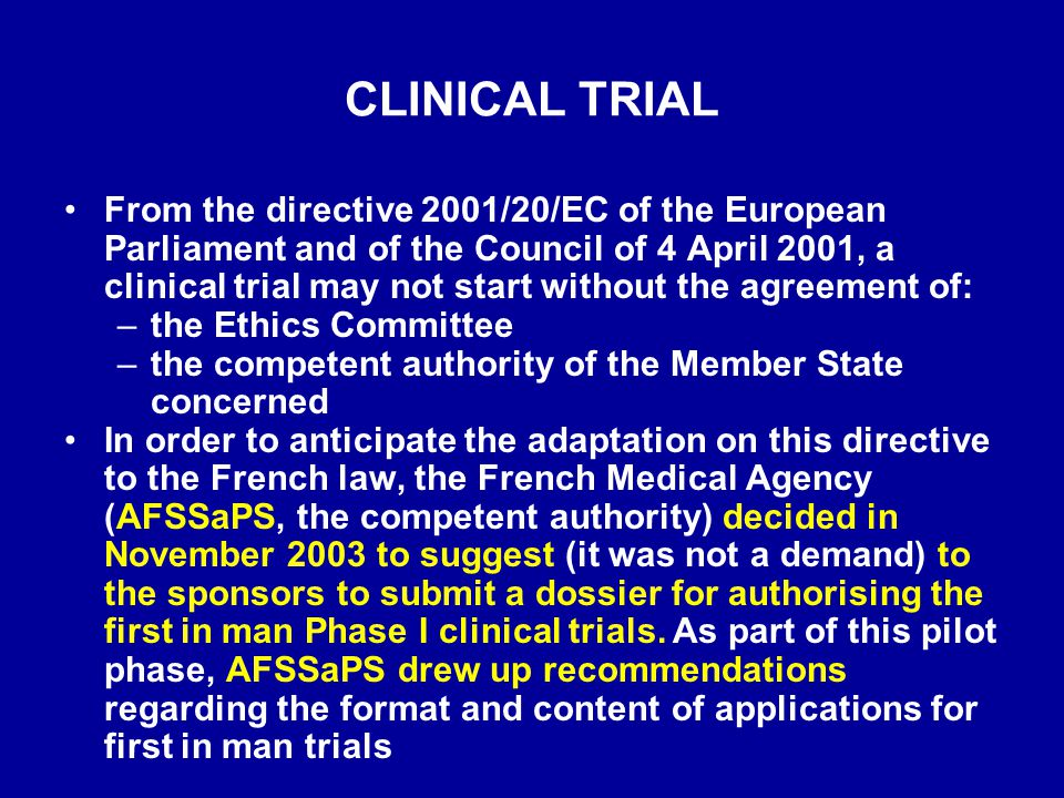 Version 3.0 January 2004 CONTENT OF THE DOSSIER RELATIVE TO THE CHEMICAL OR BIOLOGICAL AND PHARMACEUTICAL QUALITY DATA AND TO NON-CLINICAL DATA CONCERNING THE INVESTIGATIONAL MEDICINAL PRODUCTS USED IN PHASE I CLINICAL TRIALS