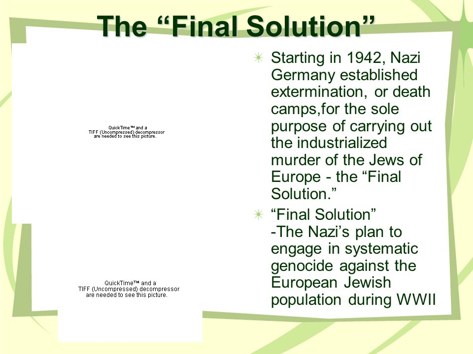 The Final Solution Starting in 1942, Nazi Germany established extermination, or death camps,for the sole purpose of carrying out the industrialized murder of the Jews of Europe - the Final Solution.