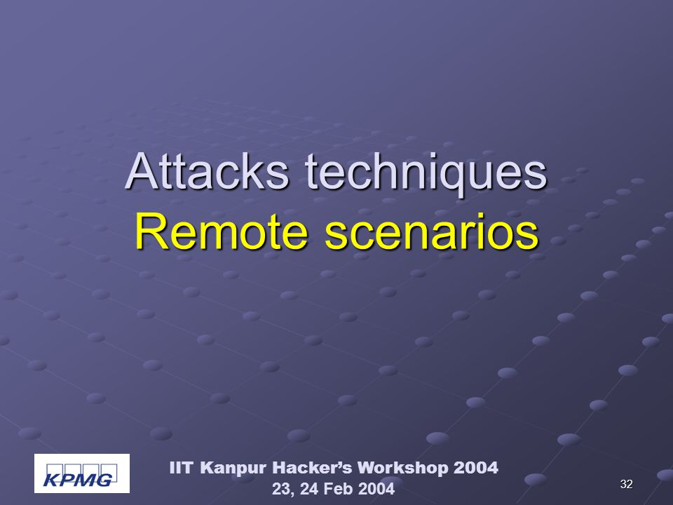 IIT Kanpur Hackers Workshop 2004 23, 24 Feb 2004 32 Attacks techniques Remote scenarios