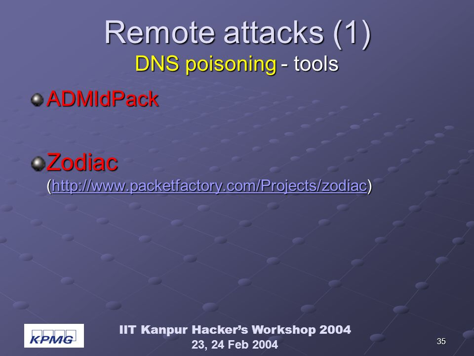 IIT Kanpur Hackers Workshop 2004 23, 24 Feb 2004 35 Remote attacks (1) DNS poisoning - tools ADMIdPack Zodiac (http://www.packetfactory.com/Projects/zodiac) http://www.packetfactory.com/Projects/zodiac