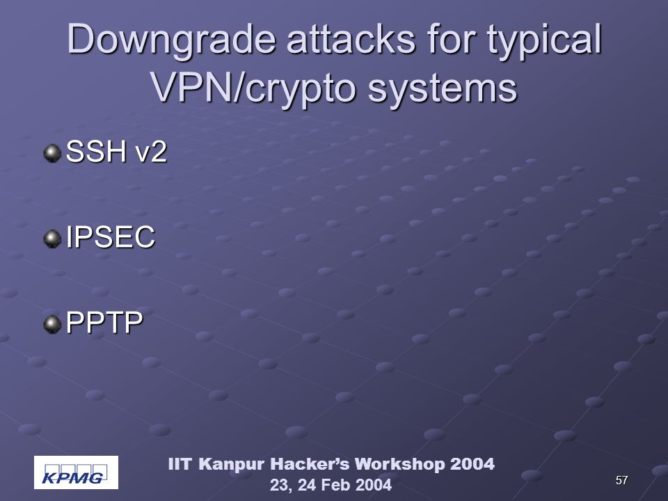 IIT Kanpur Hackers Workshop 2004 23, 24 Feb 2004 57 Downgrade attacks for typical VPN/crypto systems SSH v2 IPSECPPTP