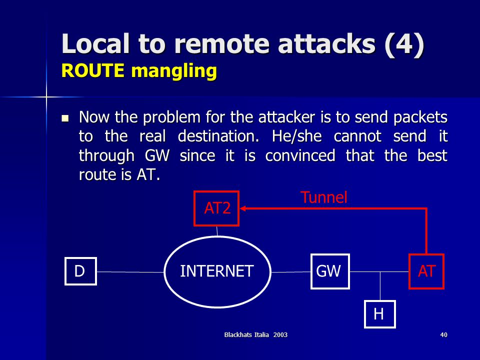 Blackhats Italia 200340 Local to remote attacks (4) ROUTE mangling Now the problem for the attacker is to send packets to the real destination. He/she