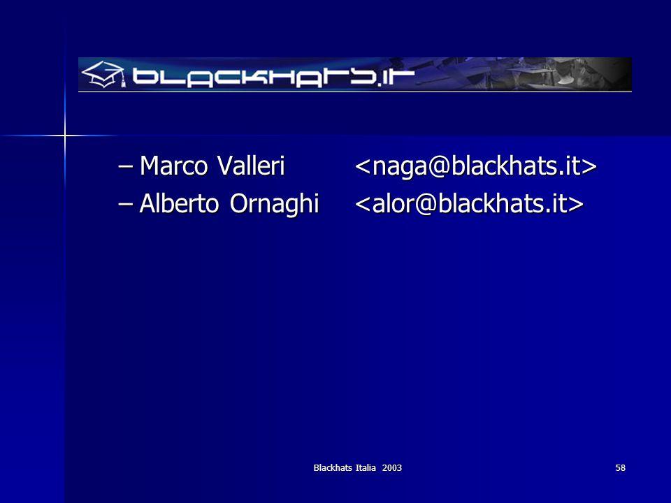 Blackhats Italia 200358 –Marco Valleri –Marco Valleri –Alberto Ornaghi –Alberto Ornaghi