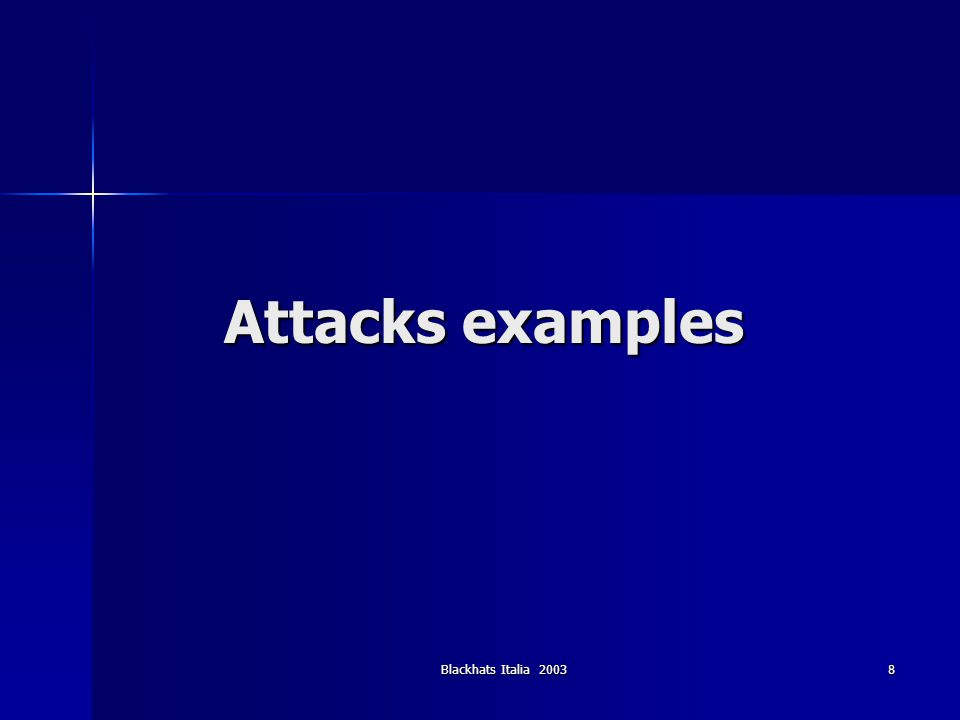 Blackhats Italia 20039 Attacks examples (1) Command injection Useful in scenarios where a one time authentication is used (e.g.