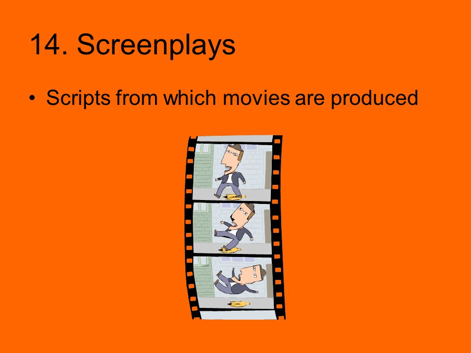 14. Screenplays Scripts from which movies are produced