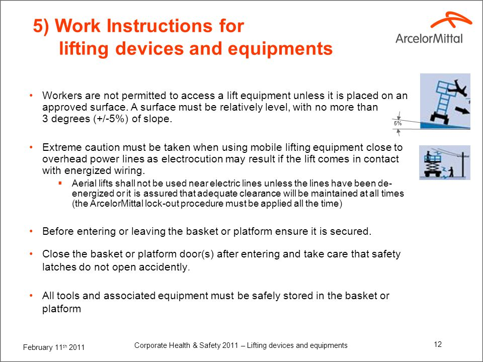February 11 th 2011 Corporate Health & Safety 2011 – Lifting devices and equipments 12 5) Work Instructions for lifting devices and equipments Workers