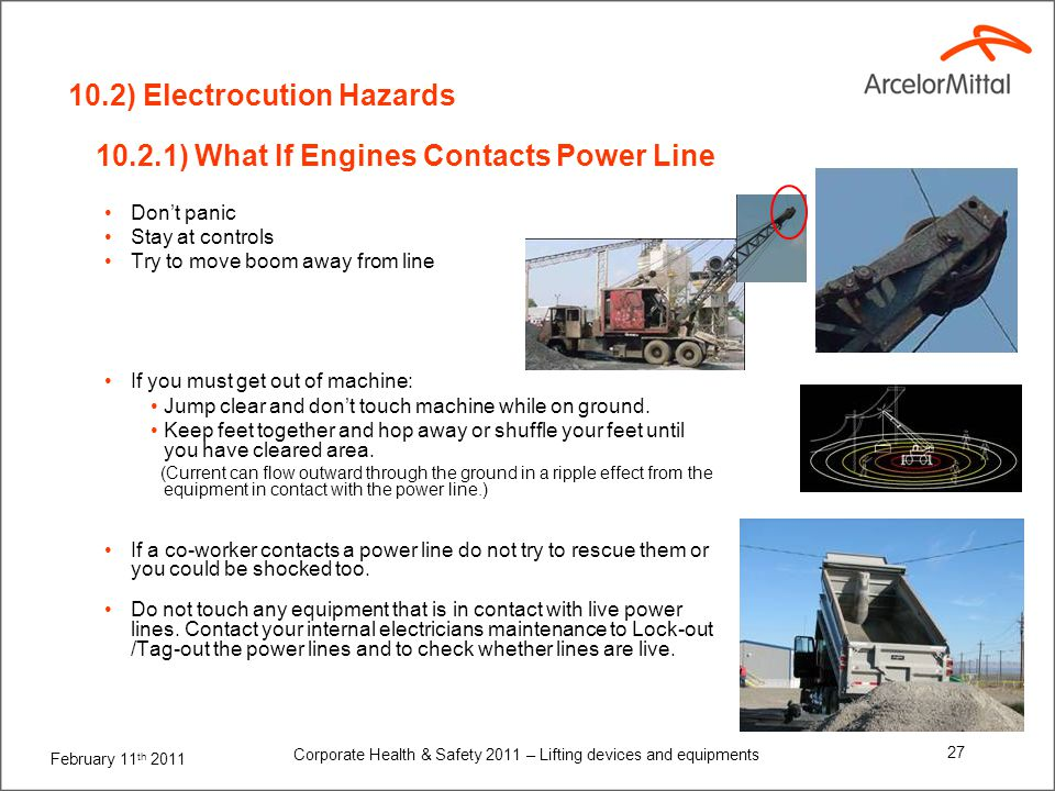 February 11 th 2011 Corporate Health & Safety 2011 – Lifting devices and equipments 27 10.2.1) What If Engines Contacts Power Line Dont panic Stay at