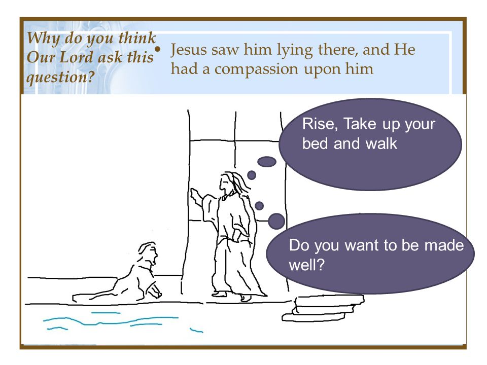 Jesus saw him lying there, and He had a compassion upon him Do you want to be made well.