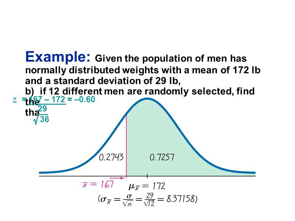 z = 167 – 172 = –0.60 29 36