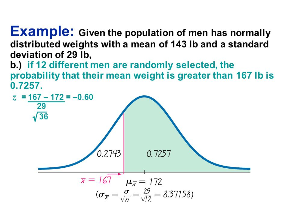z = 167 – 172 = –0.60 29 36 Example: Given the population of men has normally distributed weights with a mean of 143 lb and a standard deviation of 29