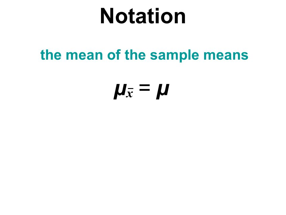 the mean of the sample means the standard deviation of sample mean µx = µµx = µ x = n