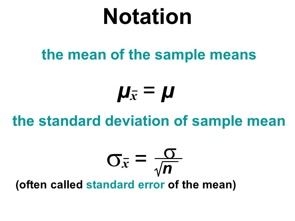 Notation the mean of the sample means the standard deviation of sample mean (often called standard error of the mean) µx = µµx = µ x = n