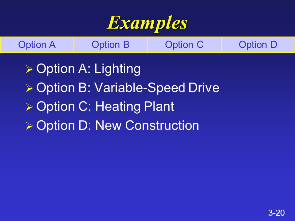 3-20 Examples Ø Option A: Lighting Ø Option B: Variable-Speed Drive Ø Option C: Heating Plant Ø Option D: New Construction Option AOption BOption COption D