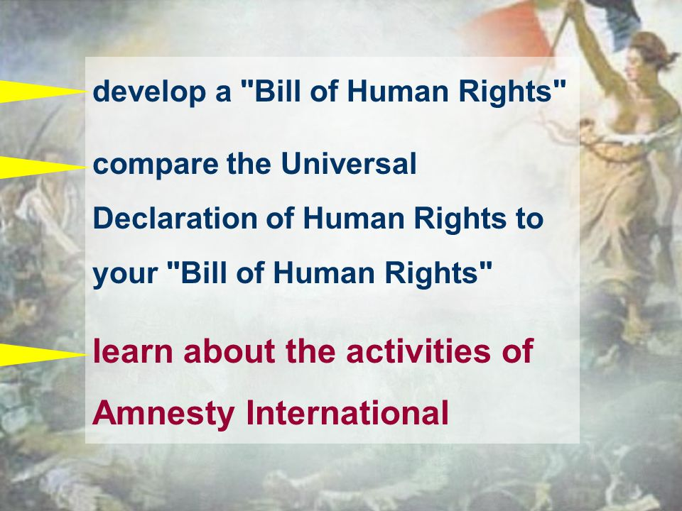 develop a Bill of Human Rights compare the Universal Declaration of Human Rights to your Bill of Human Rights learn about the activities of Amnesty International