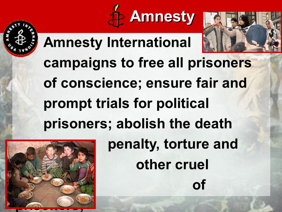Amnesty International campaigns to free all prisoners of conscience; ensure fair and prompt trials for political prisoners; abolish the death penalty, torture and other cruel treatment of prisoners; Amnesty