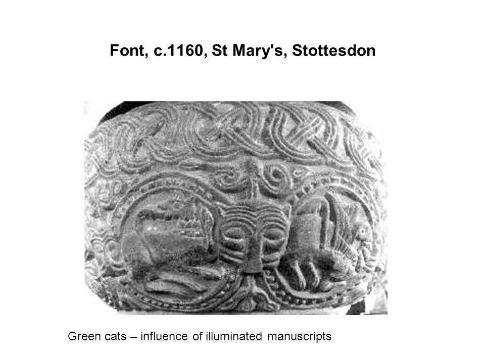 Font, c.1160, St Mary's, Stottesdon Green cats – influence of illuminated manuscripts