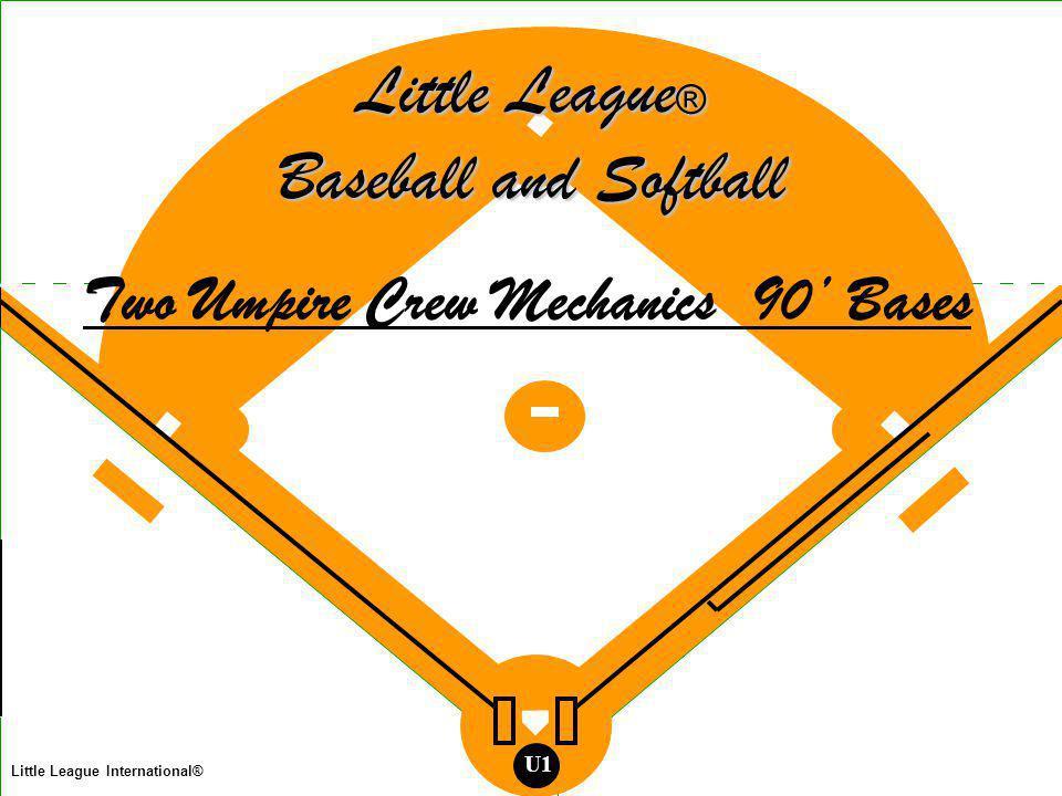 Two Man Mechanics Legend Umpire Base Runner Batter Runner Batted Ball Thrown Ball Fielder Little League International® U1 T h a t s a l l, F o l k s .