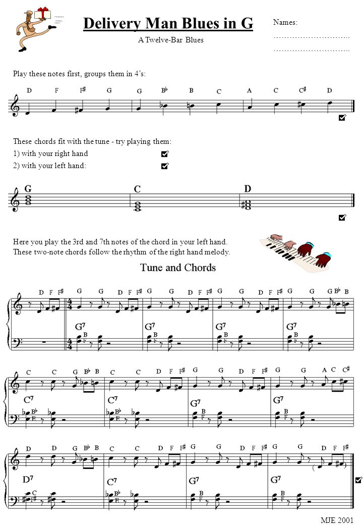 Delivery Man Blues in G Play these notes first, groups them in 4s: These chords fit with the tune - try playing them: 1) with your right hand 2) with