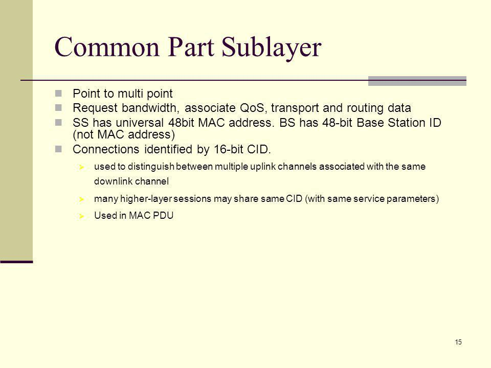15 Common Part Sublayer Point to multi point Request bandwidth, associate QoS, transport and routing data SS has universal 48bit MAC address.