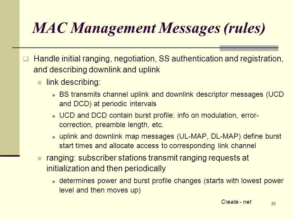 20 MAC Management Messages (rules) Handle initial ranging, negotiation, SS authentication and registration, and describing downlink and uplink link describing: BS transmits channel uplink and downlink descriptor messages (UCD and DCD) at periodic intervals UCD and DCD contain burst profile: info on modulation, error- correction, preamble length, etc.
