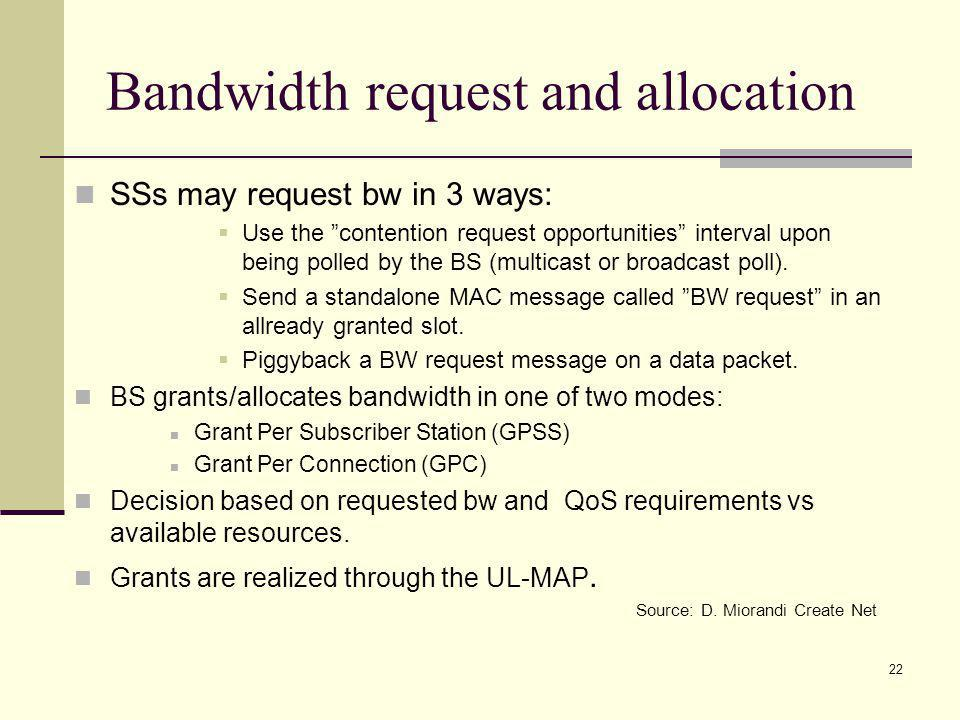 22 Bandwidth request and allocation SSs may request bw in 3 ways: Use the contention request opportunities interval upon being polled by the BS (multicast or broadcast poll).