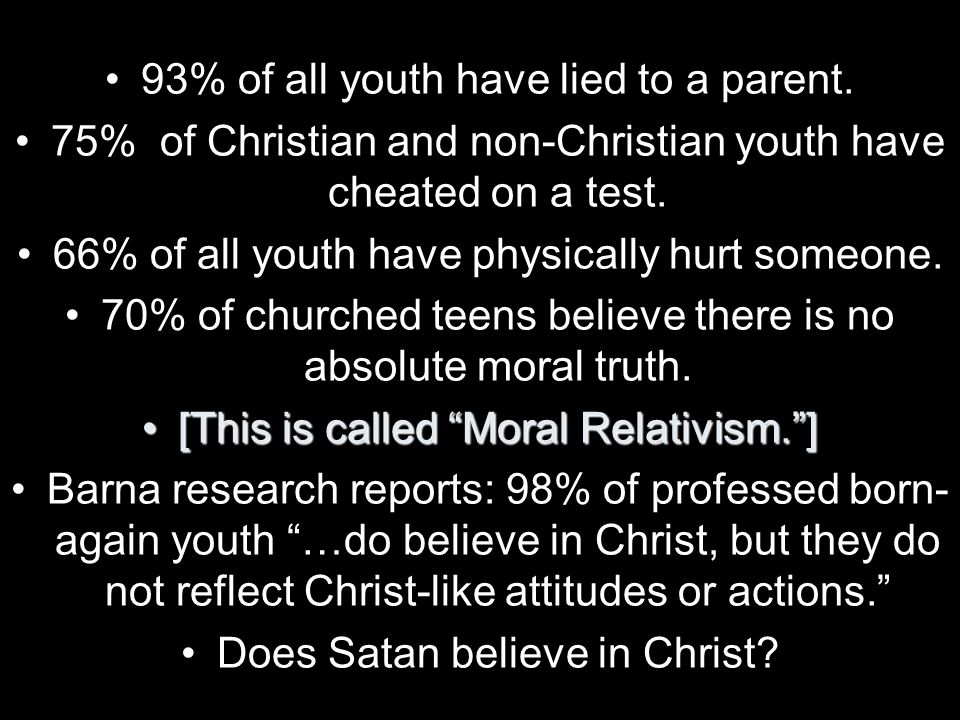 93% of all youth have lied to a parent. 75% of Christian and non-Christian youth have cheated on a test. 66% of all youth have physically hurt someone