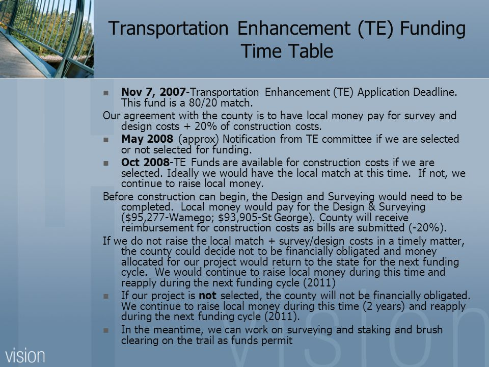Transportation Enhancement (TE) Funding Time Table Nov 7, 2007-Transportation Enhancement (TE) Application Deadline.