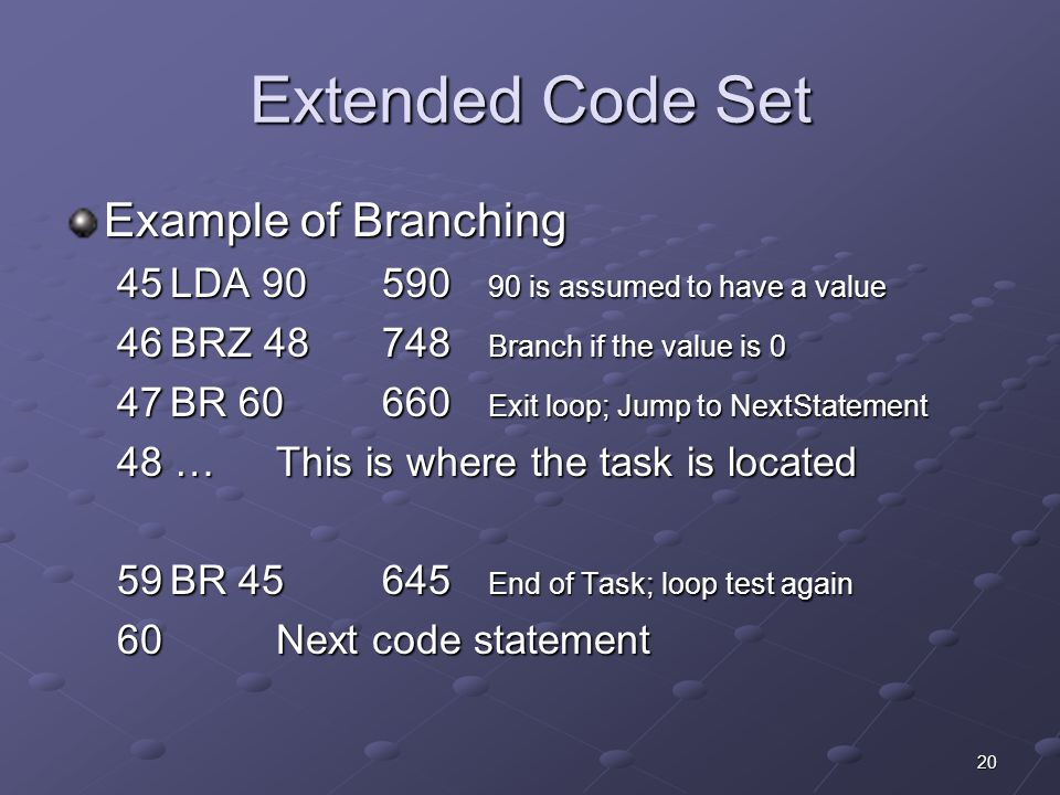 20 Extended Code Set Example of Branching 45LDA 90590 90 is assumed to have a value 46BRZ 48748 Branch if the value is 0 47BR 60660 Exit loop; Jump to