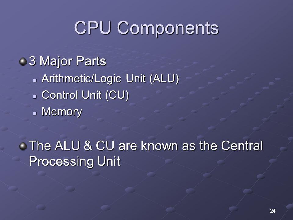 24 CPU Components 3 Major Parts Arithmetic/Logic Unit (ALU) Arithmetic/Logic Unit (ALU) Control Unit (CU) Control Unit (CU) Memory Memory The ALU & CU