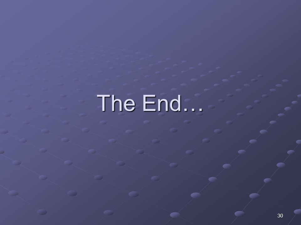 30 The End…
