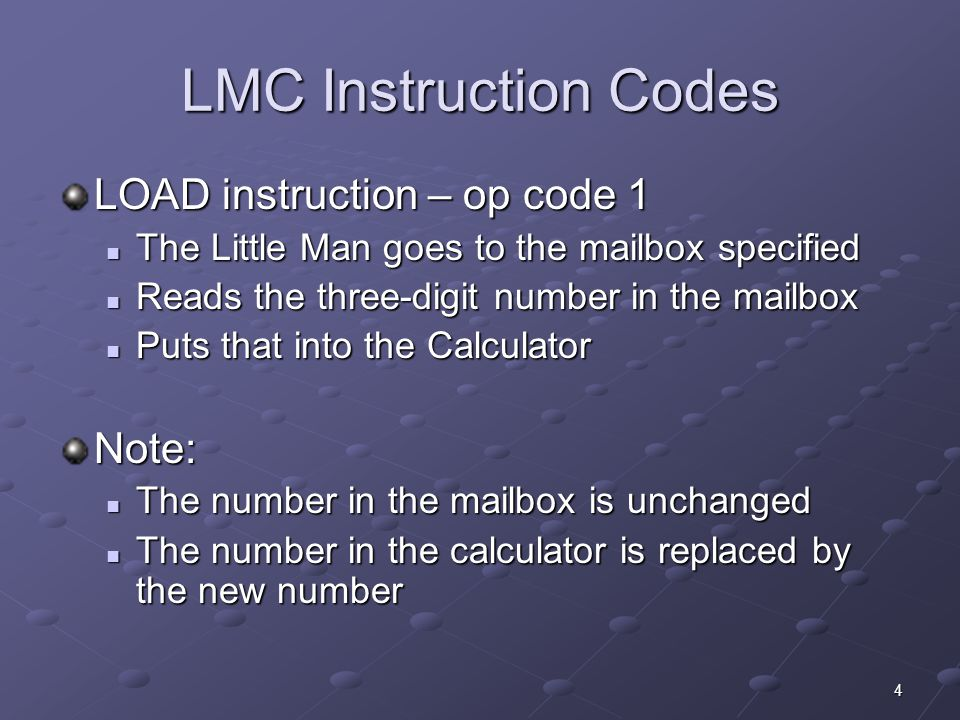15 A Simple Program INPUT500 The first step is to give the LM access to the data The first step is to give the LM access to the data This instruction has the LM read the first number from the in basket in to the calculator This instruction has the LM read the first number from the in basket in to the calculator