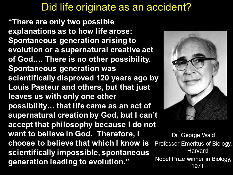 Did life originate as an accident.