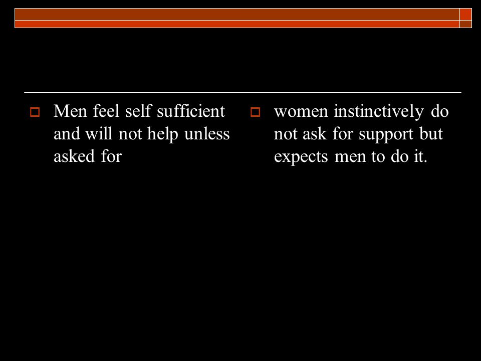 Men feel self sufficient and will not help unless asked for women instinctively do not ask for support but expects men to do it.