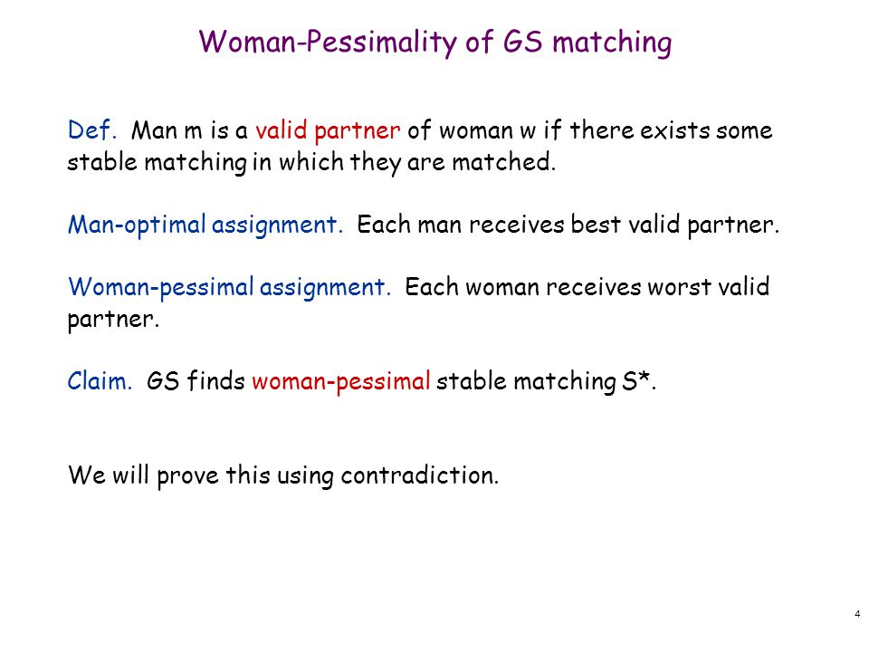 Claim.GS finds woman-pessimal stable matching S*.
