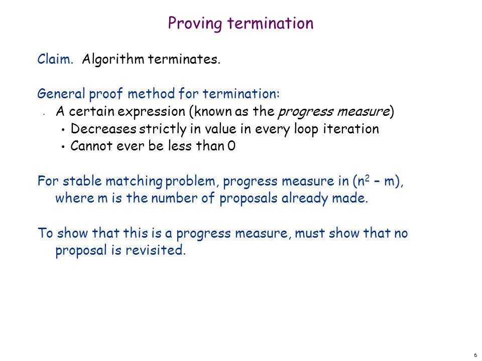 Proving termination Claim. Algorithm terminates.