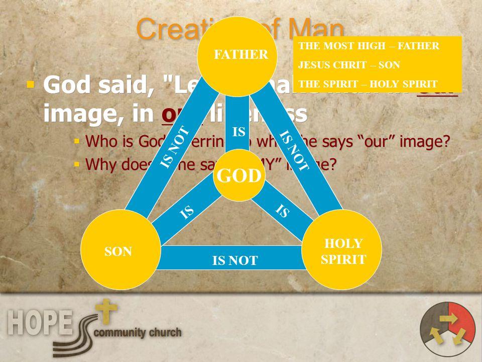 Creation of Man God said,