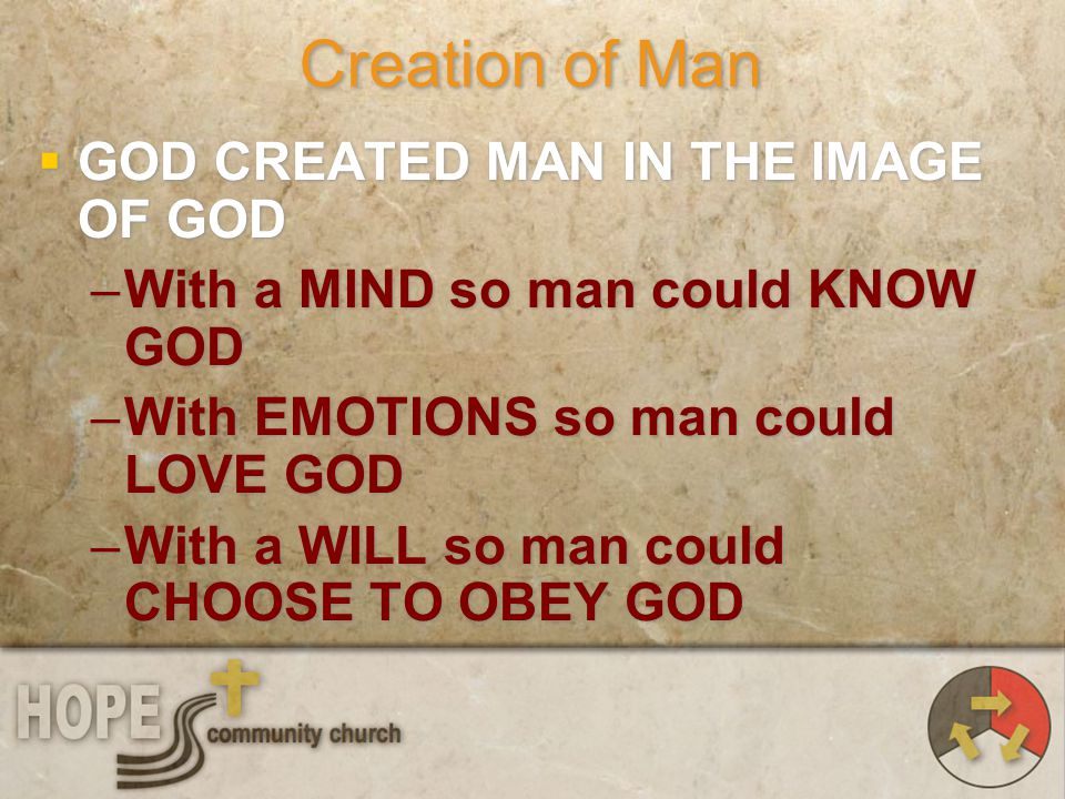 Creation of Man GOD CREATED MAN IN THE IMAGE OF GOD –With a MIND so man could KNOW GOD –With EMOTIONS so man could LOVE GOD –With a WILL so man could
