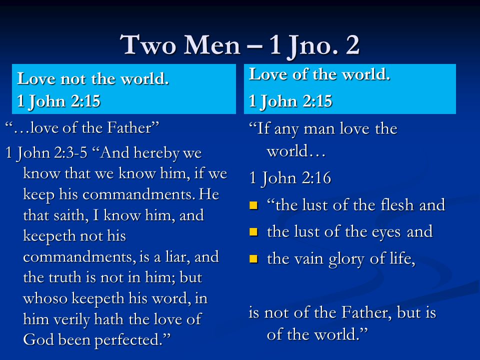 Two Men – 1 Jno. 2 Love not the world.