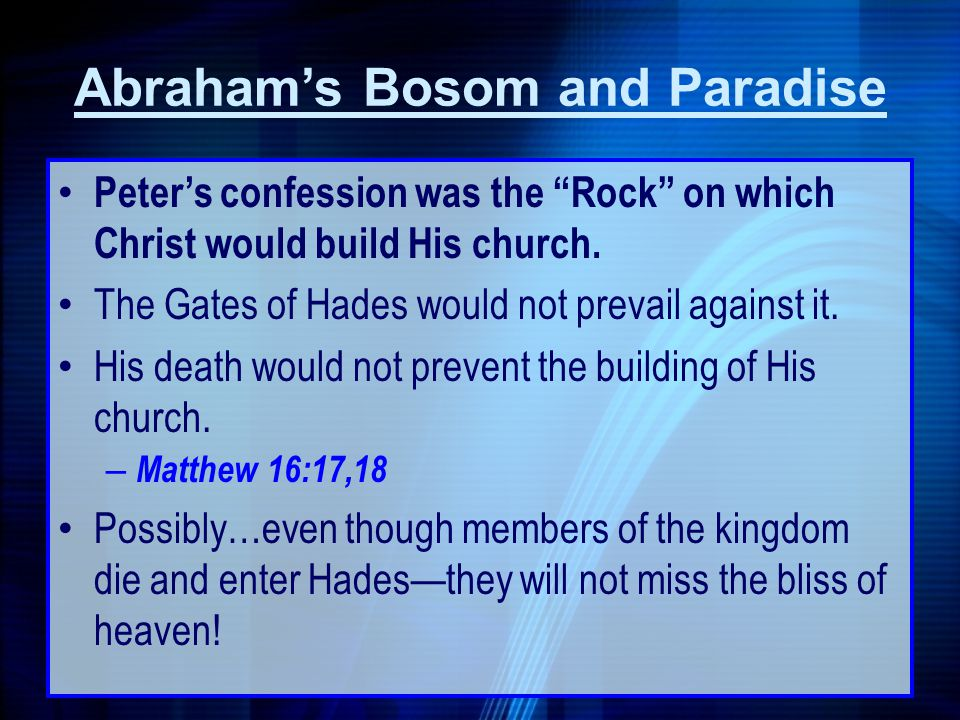 Peters confession was the Rock on which Christ would build His church. The Gates of Hades would not prevail against it. His death would not prevent th