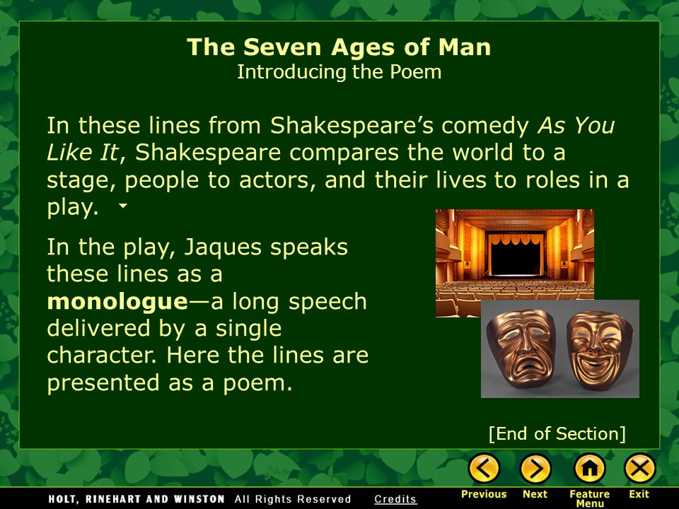 Is living most like walking through passages? going on a voyage? Or, like playing parts in a play? The Seven Ages of Man Introducing the Poem