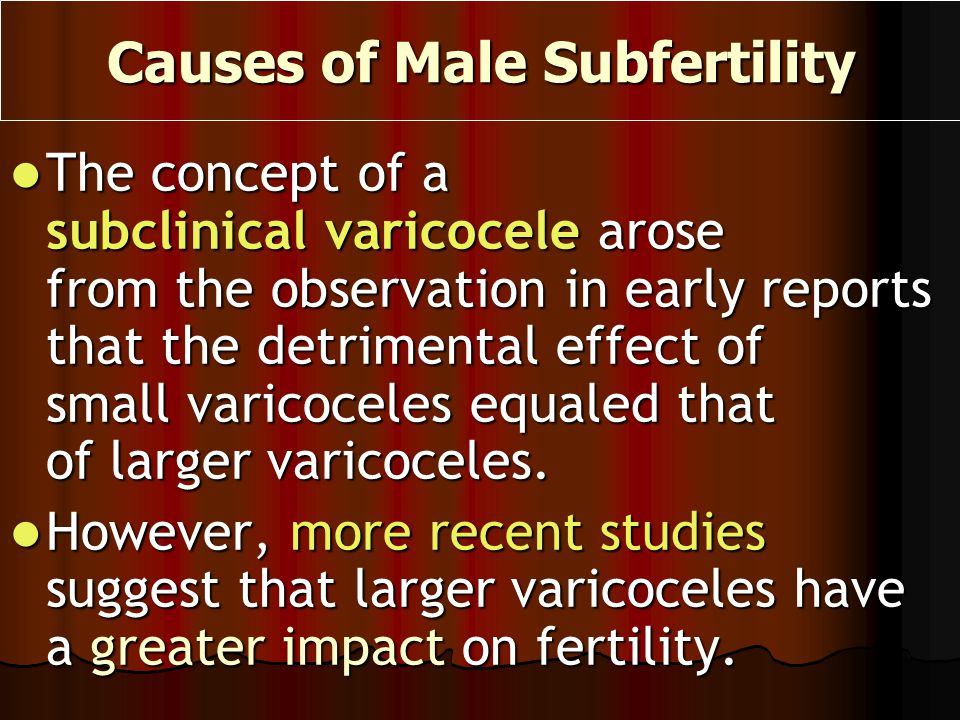 The concept of a subclinical varicocele arose from the observation in early reports that the detrimental effect of small varicoceles equaled that of l