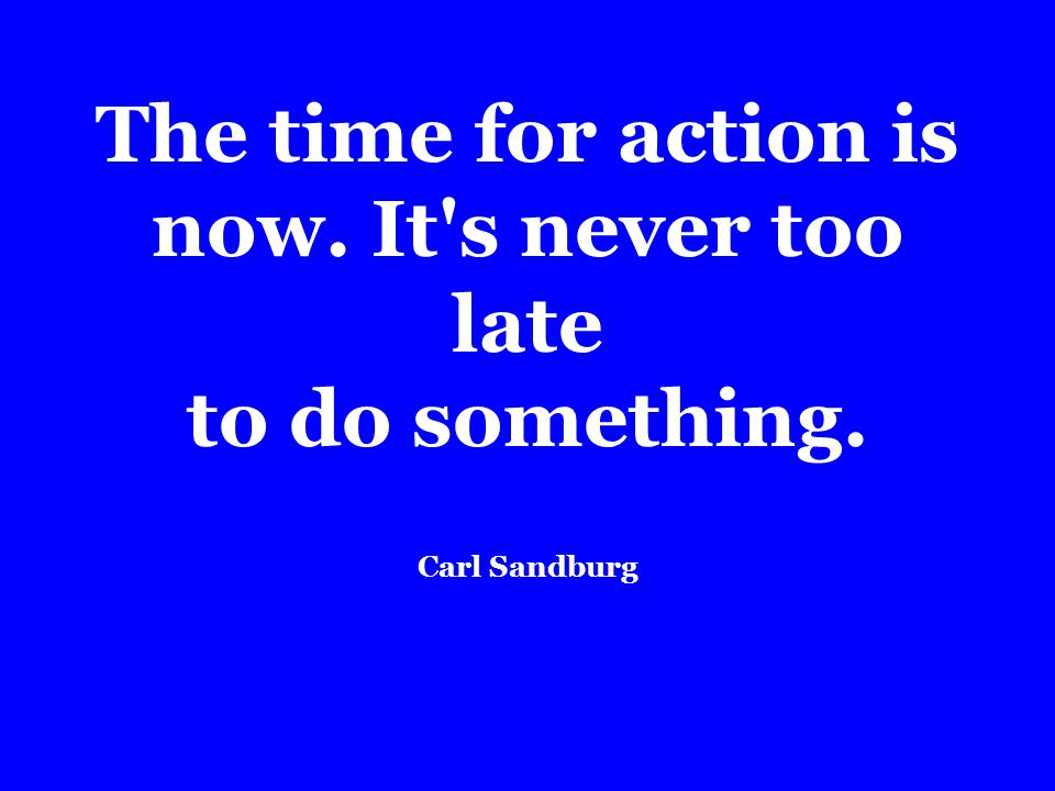The time for action is now. It s never too late to do something. Carl Sandburg