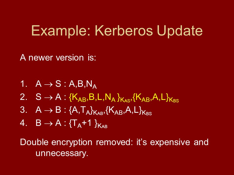 Example: Kerberos Update A newer version is: 1.A S : A,B,N A 2.S A : {K AB,B,L,N A } K AS,{K AB,A,L} K BS 3.A B : {A,T A } K AB,{K AB,A,L} K BS 4.B A : {T A +1 } K AB Double encryption removed: its expensive and unnecessary.