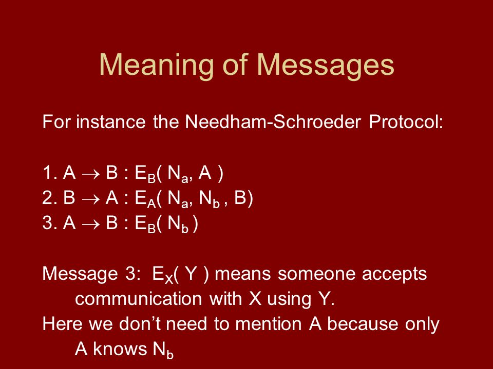 Meaning of Messages For instance the Needham-Schroeder Protocol: 1.