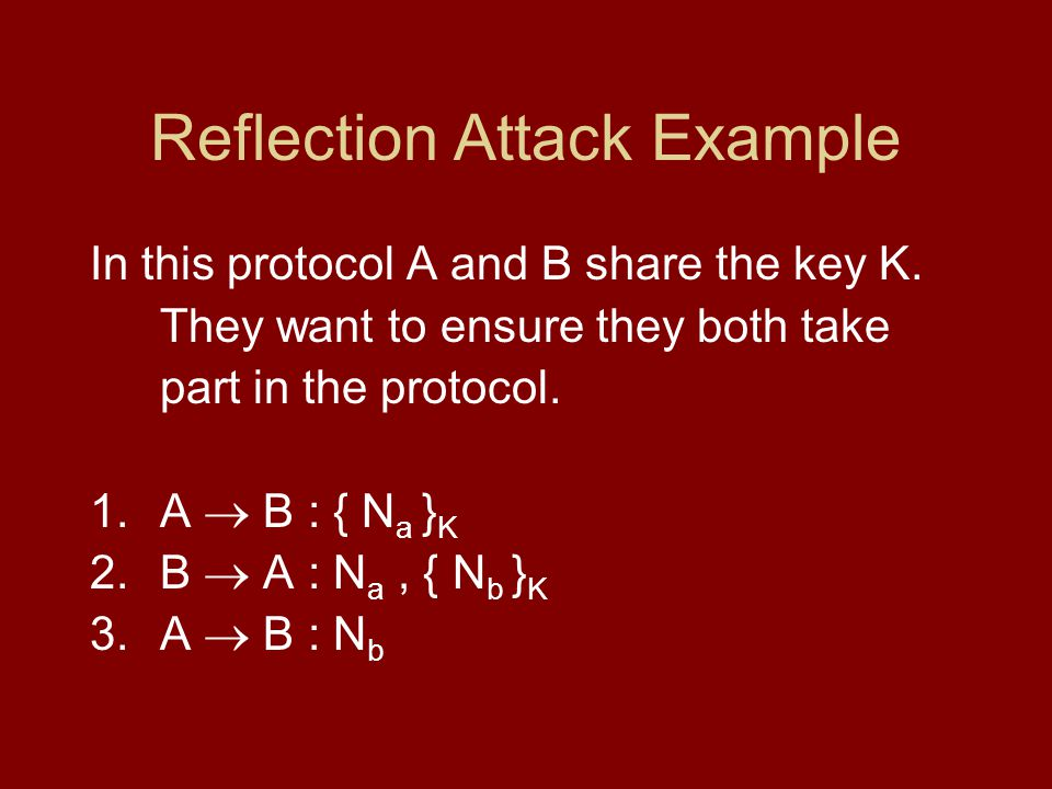 Reflection Attack Example In this protocol A and B share the key K.