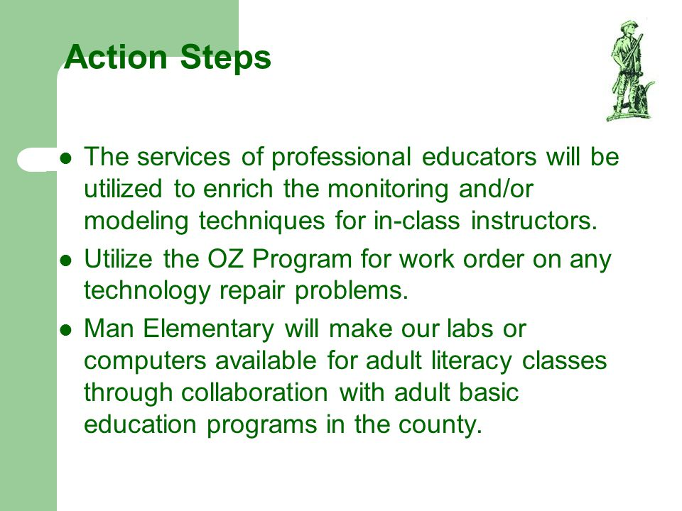 Action Steps The services of professional educators will be utilized to enrich the monitoring and/or modeling techniques for in-class instructors. Uti