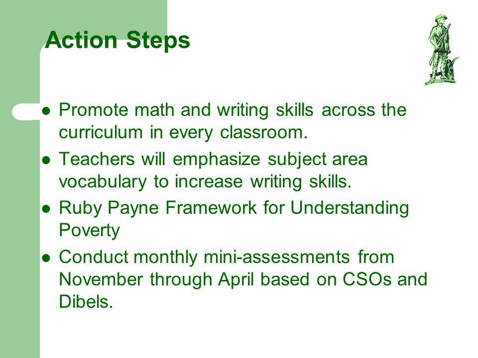 Action Steps Promote math and writing skills across the curriculum in every classroom. Teachers will emphasize subject area vocabulary to increase wri