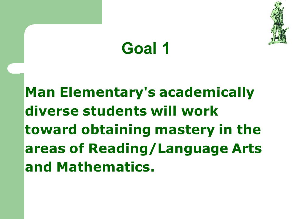 Goal 1 Man Elementary's academically diverse students will work toward obtaining mastery in the areas of Reading/Language Arts and Mathematics.