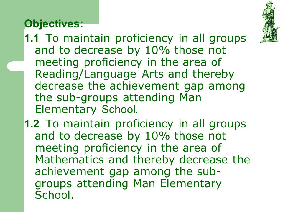 Objectives: 1.1 To maintain proficiency in all groups and to decrease by 10% those not meeting proficiency in the area of Reading/Language Arts and th