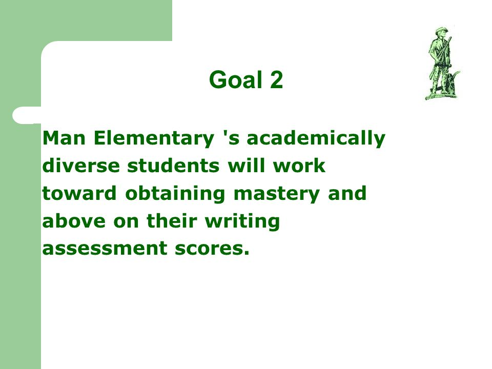Goal 2 Man Elementary 's academically diverse students will work toward obtaining mastery and above on their writing assessment scores.